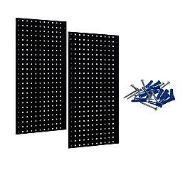 (2) 18 In. W x 36 In. H x 9/16 In. D Black Epoxy, 18 Gauge Steel Square Hole Pegboards