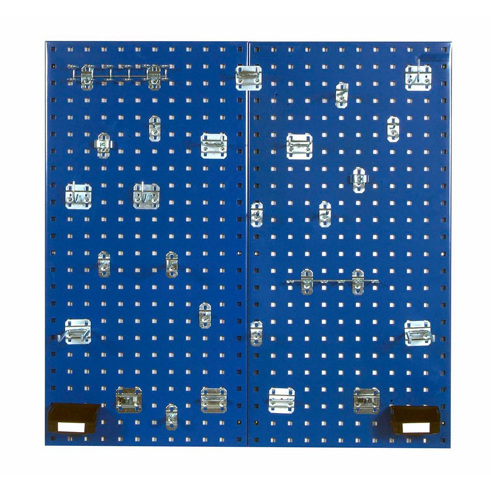 Triton (2) 18 In. W x 36 In. H Blue Steel Square Hole Pegboards with 30 pc. LocHook Assort. & Bin System