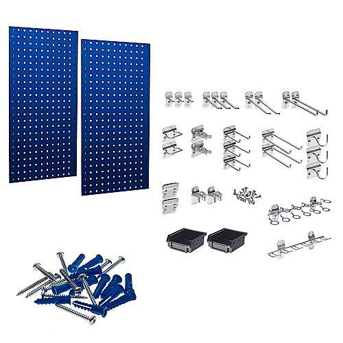 (2) 18 In. W x 36 In. H Blue Steel Square Hole Pegboards with 30 pc. LocHook Assort. & Bin System