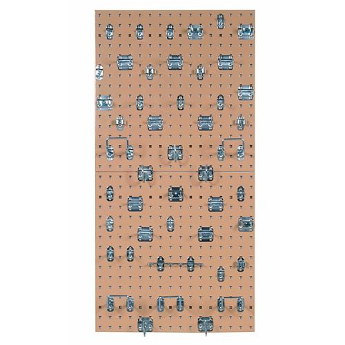 (2) 24 In. W x 24 In. H x 9/16 In. D Tan  Steel Square Hole Pegboards with 46 pc LocHook Assortment