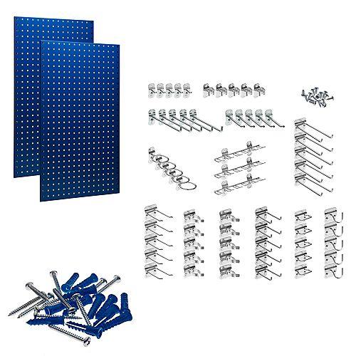 (2) 24 In. W x 42-1/2 In. H x 9/16 In. D Blue Steel Square Hole Pegboards w/63 pc. LocHook Assort.