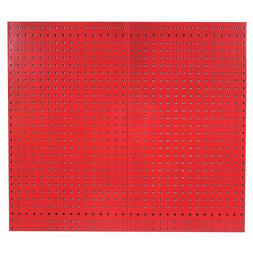 (2) 24 In. W x 42-1/2 In. H x 9/16 In. D Red Steel Square Hole Pegboards