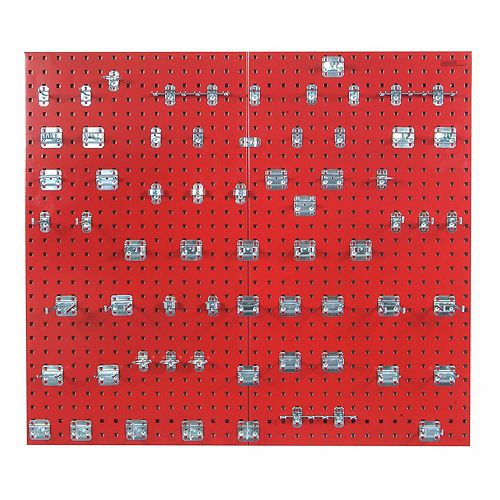 (2) 24 In. W x 42-1/2 In. H x 9/16 In. D Red Steel Square Hole Pegboards w/63 pc. LocHook Assort.