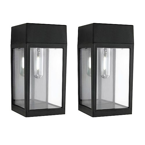 Hampton Bay 2 Pack. 8 Lumen Black Solar LED wall/fence lights