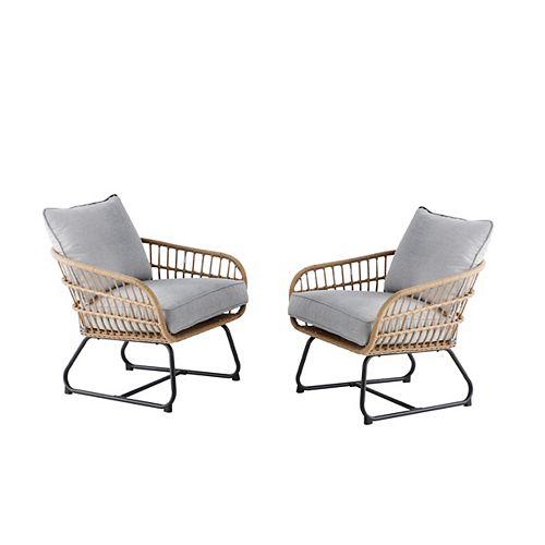 Hampton Bay Cayman Grey All-Weather Wicker Patio Club Chair (2 pack)