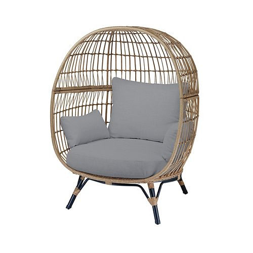 Cayman Grey All-Weather Wicker Patio Egg Chair