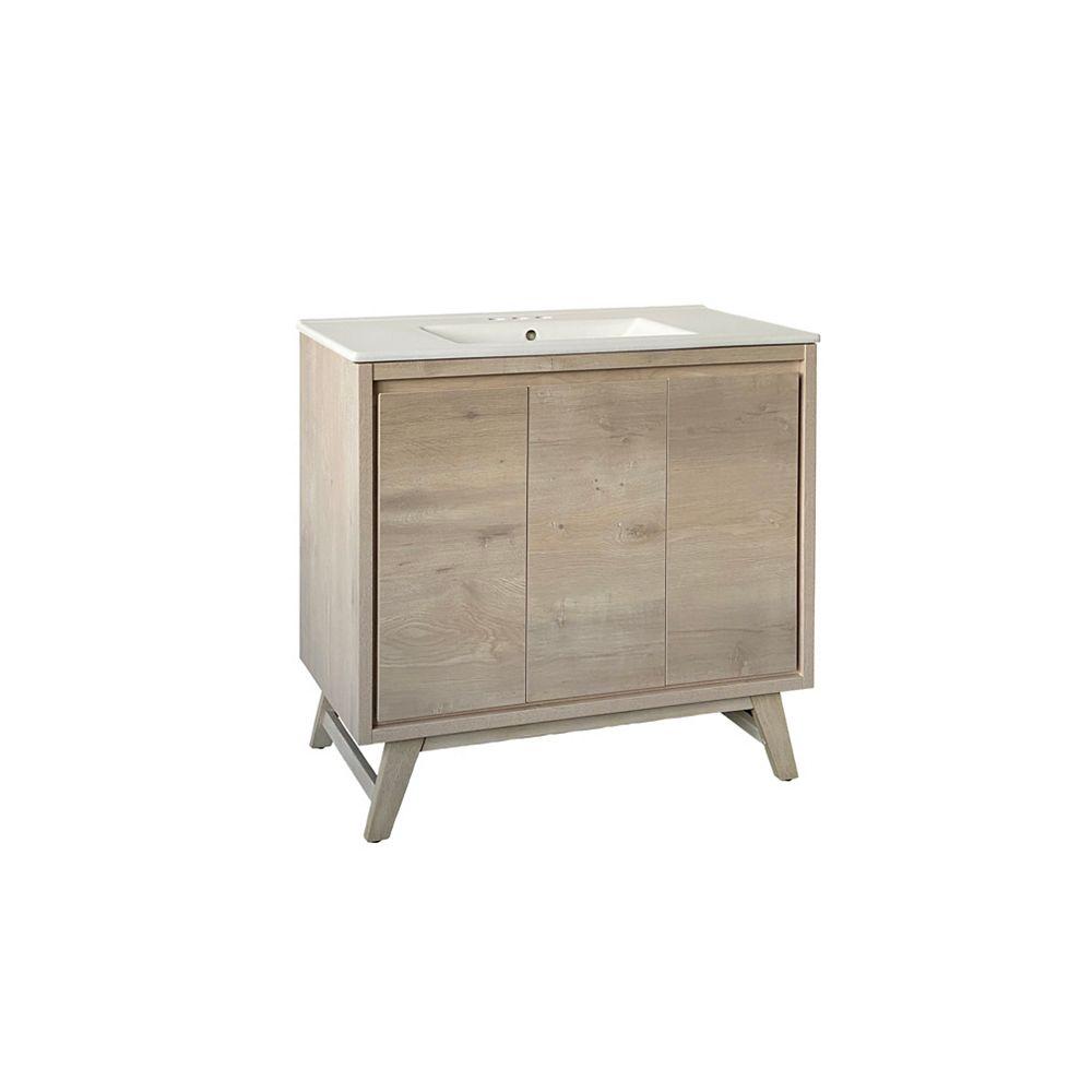 GLACIER BAY Wolston 36.2-inch W x 18.4-inch D x 34.8-inch H Freestanding Bath Vanity in Weathered Grey with White Basin