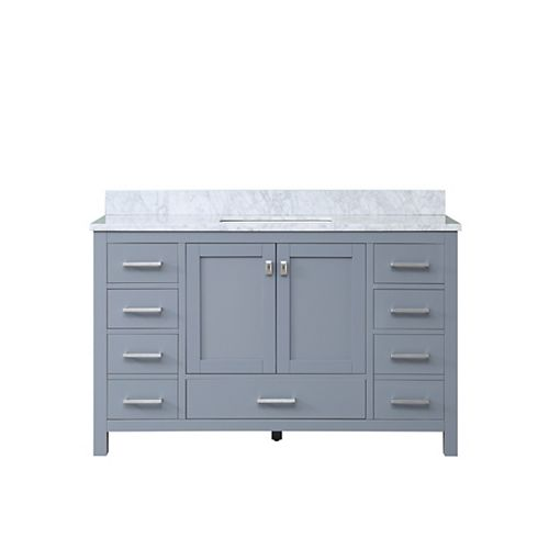 Home Decorators Collection Franklin 54-inch W 7-Drawer 2-Door Vanity in Grey With Marble Top in White