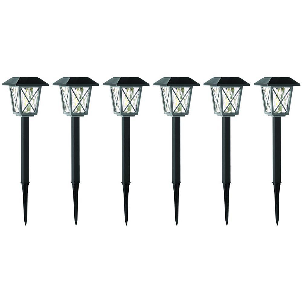 Hampton Bay 16 Lumen Black Solar LED Pathway Lights (6-Pack)