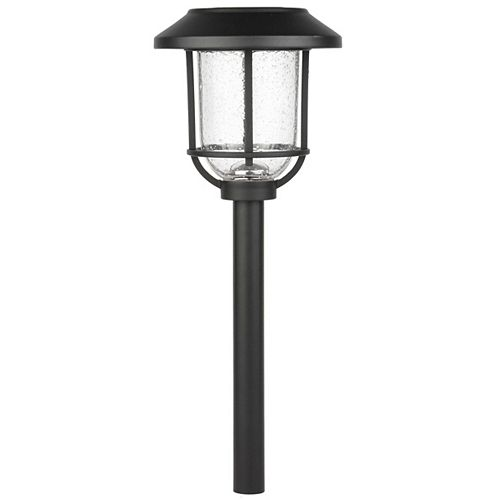 14 Lumen Black Solar LED Metal Glass Landscape Pathway Light