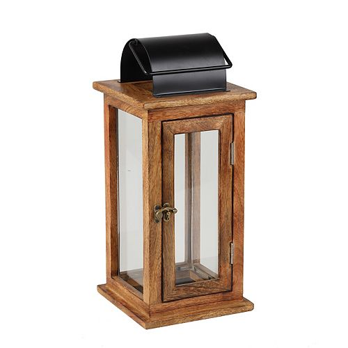 15.60 inch Wood Lantern with Black Finish Metal Top