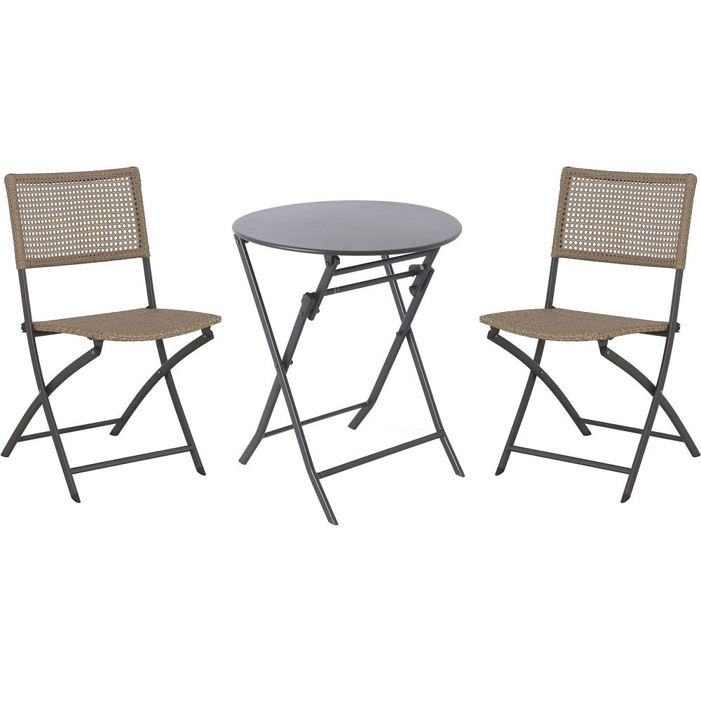 StyleWell Mix & Match Graphite 3-Piece Folding Patio Bistro Set