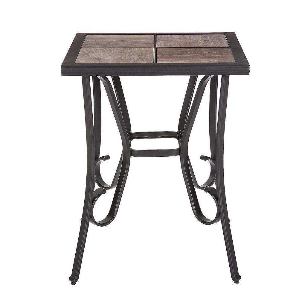 Hampton Bay Crestridge Steel Square Outdoor Patio Bistro Table with Tile Top