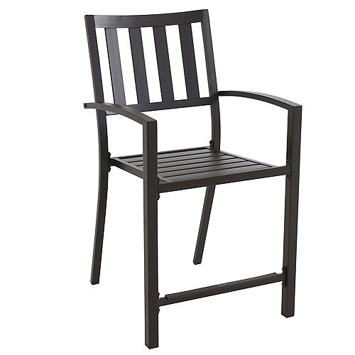 Mix & Match Graphite Slat-Back Stacking Patio Balcony Dining Chair