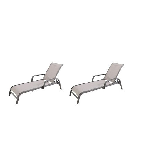 Commercial-Grade Brown Aluminum Chaise Lounge with Sunbrella Elevation Stone Sling