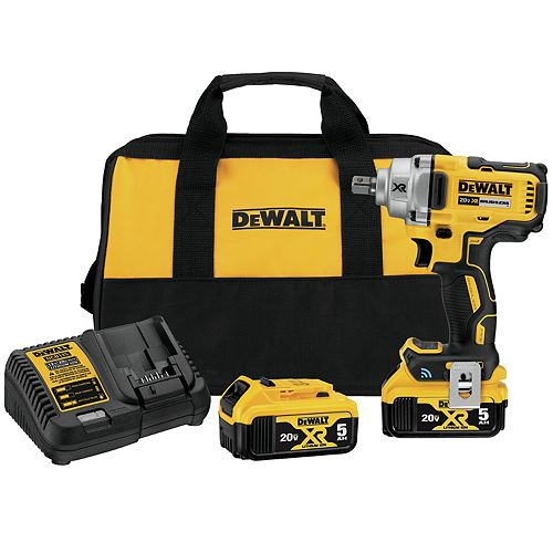 Dewalt 20V Max Tool Connect 1/2-inch Mid-Range Impact Wrench With Detent Pin Anvil Kit (DCF896P2)