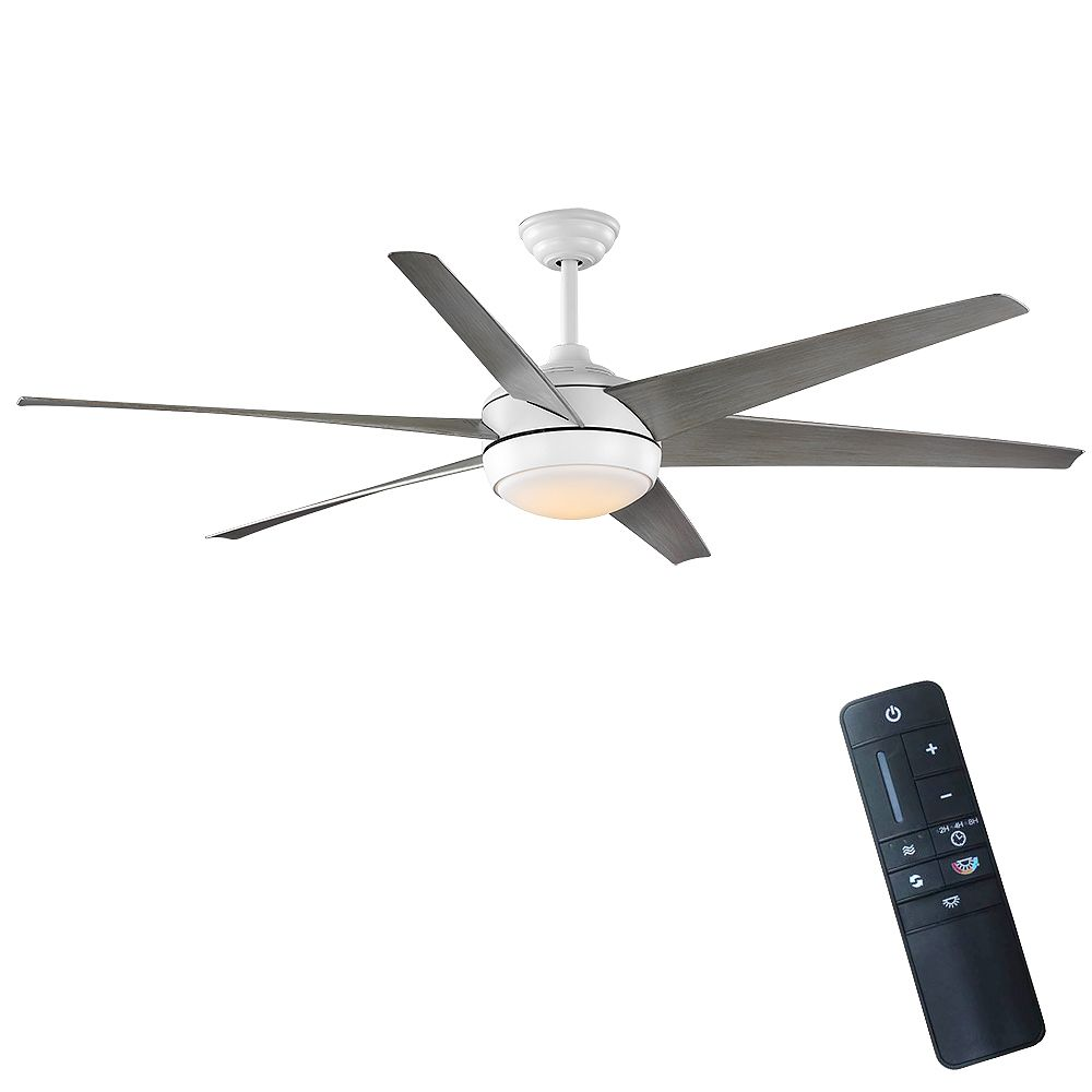 Home Decorators Collection Windward 68-inch LED Matte White Ceiling Fan with Light and Remote Control