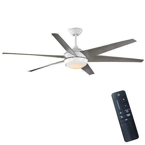 Windward 68-inch Integrated LED Light Matte White Ceiling Fan with Remote Control