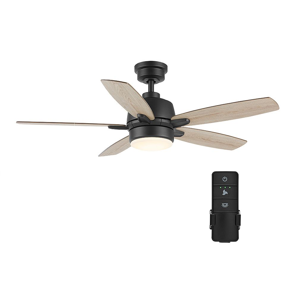 Home Decorators Collection Fawndale 46-inch LED Matte Black Ceiling Fan with Light and Remote Control