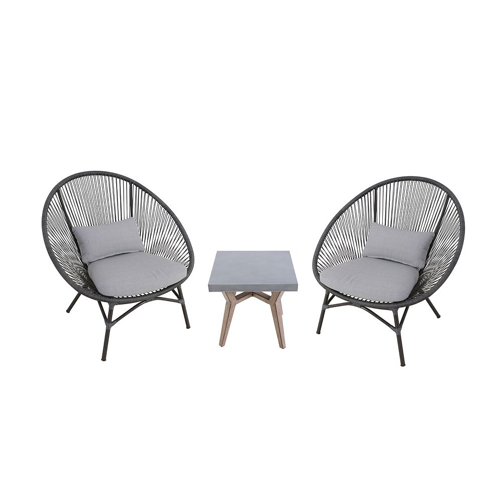 StyleWell Dark Gray 3-Piece Steel Papasan Rope Outdoor Patio Conversation Seating Set with Gray Cushion
