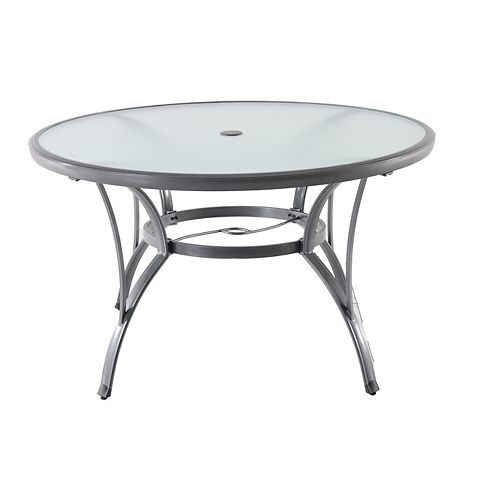 Home Decorators Collection Commercial Grade Grey Round Aluminum Patio Dining Table