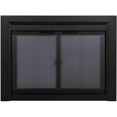 Pleasant Hearth Grandes portes de foyer noires pliantes Clairmont en verre trempé fumé