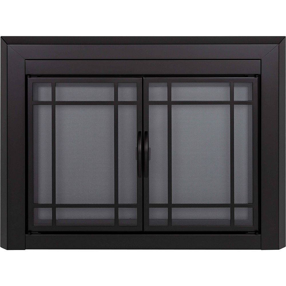 Pleasant Hearth Easton Black Small Cabinet-Style Fireplace ...