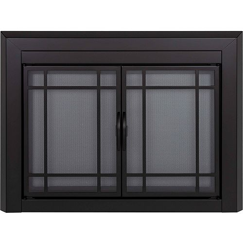 Pleasant Hearth Easton Black Large Cabinet-Style Fireplace Doors with Smoke Tempered Glass