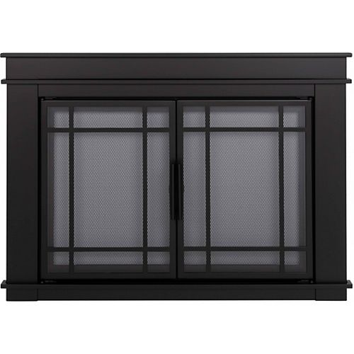 Pleasant Hearth Filmore Midnight Black Large Cabinet-Style Fireplace Doors with Smoke Tempered Glass