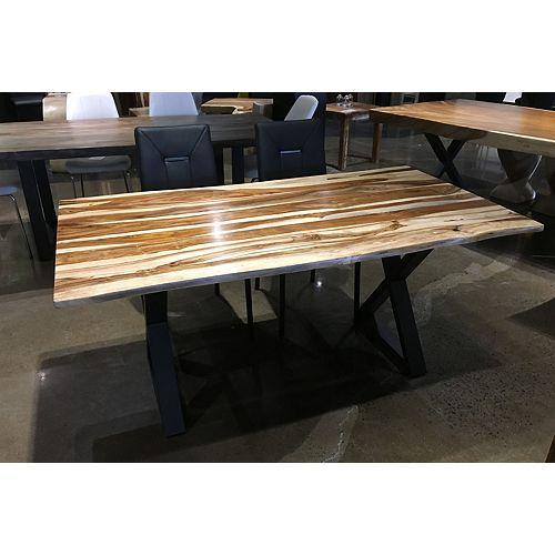 67'' LIVE EDGE SHEESHAM TABLE WITH BLACK x LEGS