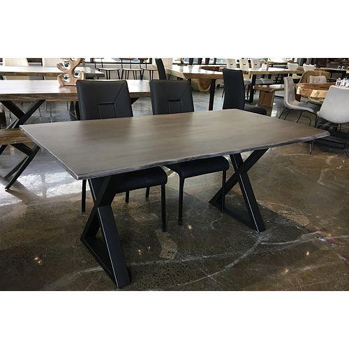 Table 67'' en acacia gris avec base en X