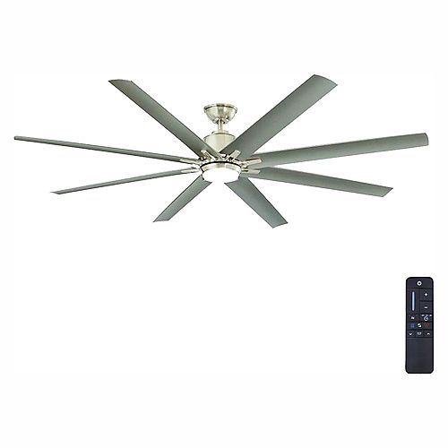 Kensgrove 72-inch Integrated LED Light Indoor/Outdoor Brushed Nickel Ceiling Fan with Remote Control