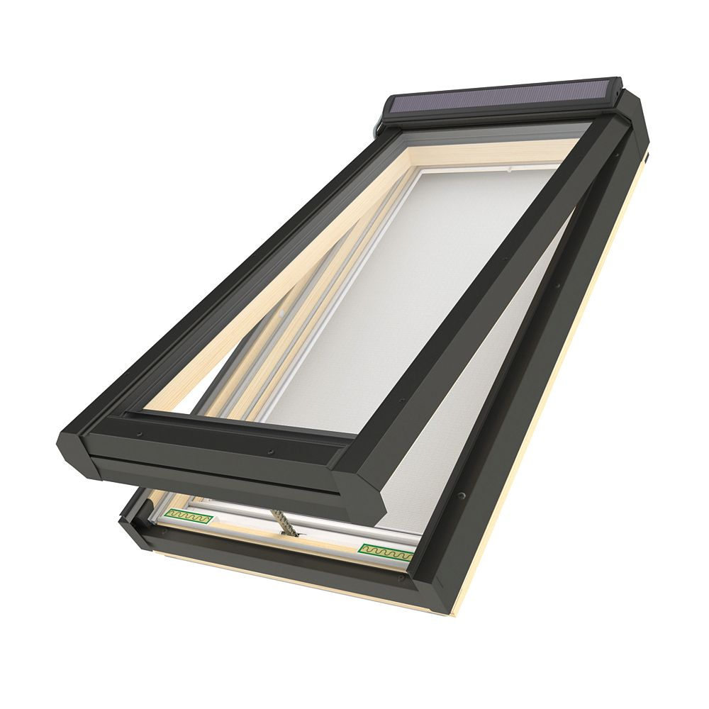 "Fakro Skylights Deck Mounted Solar Venting Skylight - Rough Opening 30"" x 54 3/4"" - FVS 508 G31 (Temp/Lam)"