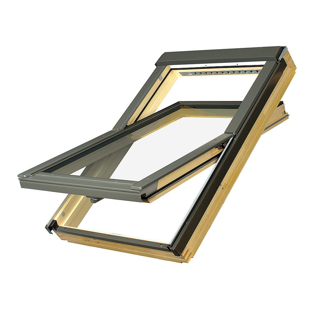 "Fakro Skylights Deck Mounted Centre Pivot Roof Window - Rough Opening 22"" x 46 7/8"" - FTP-16 - P2 (Temp/Lam)"