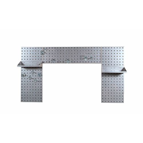 Silver Laundry Room Organizer Kit with (3) Steel Pegboard, (2) Steel Shelves and 9 pc.Hook Assort.