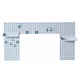 White Laundry Room Organizer Kit with (3) Steel Pegboard, (2) Steel Shelves and 9 pc.Hook Assort.