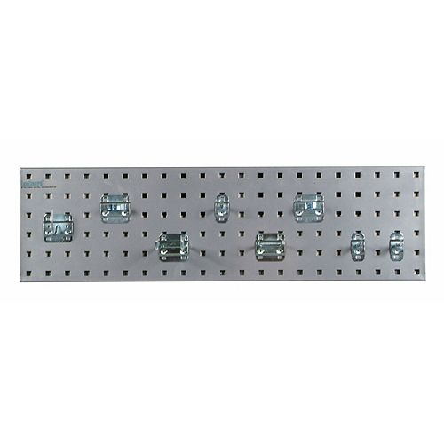 Silver Garden Storage Kit with (1) 31.5 In. x 9 In. Steel Pegboard and 8 pc LocHook Assort.