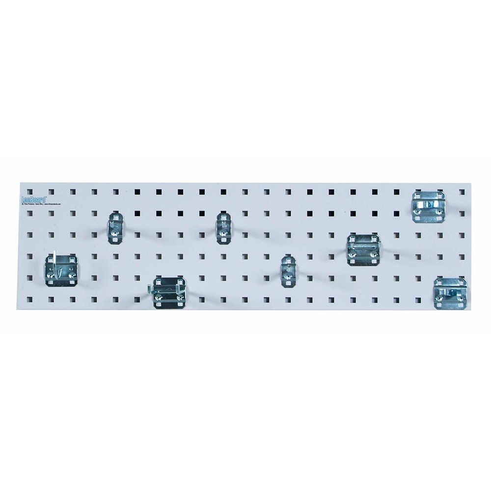 Triton White Garden Storage Kit with (1) 31.5 In. x 9 In. Steel Pegboard and 8 pc LocHook Assort.