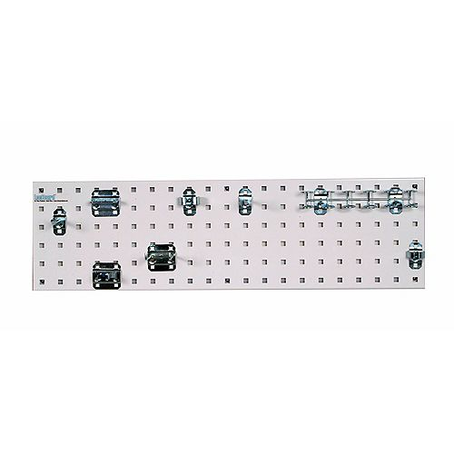 White Tool Storage Kit with (1) 31.5 In. x 9 In. Steel Pegboard and 8 pc LocHook Assort.