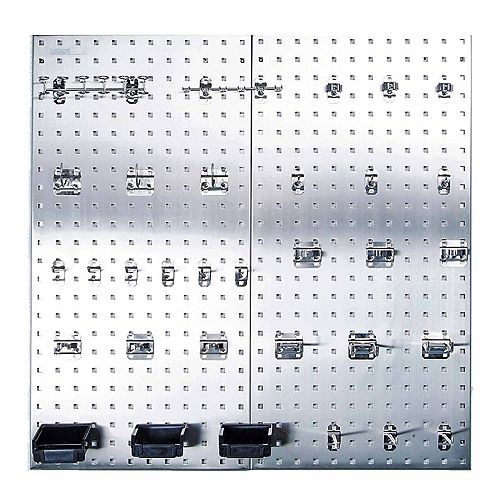 (2) 18 In. W x 36 In. H x 1/2 In. D 304 Stainless Square Hole Pegboard Kit