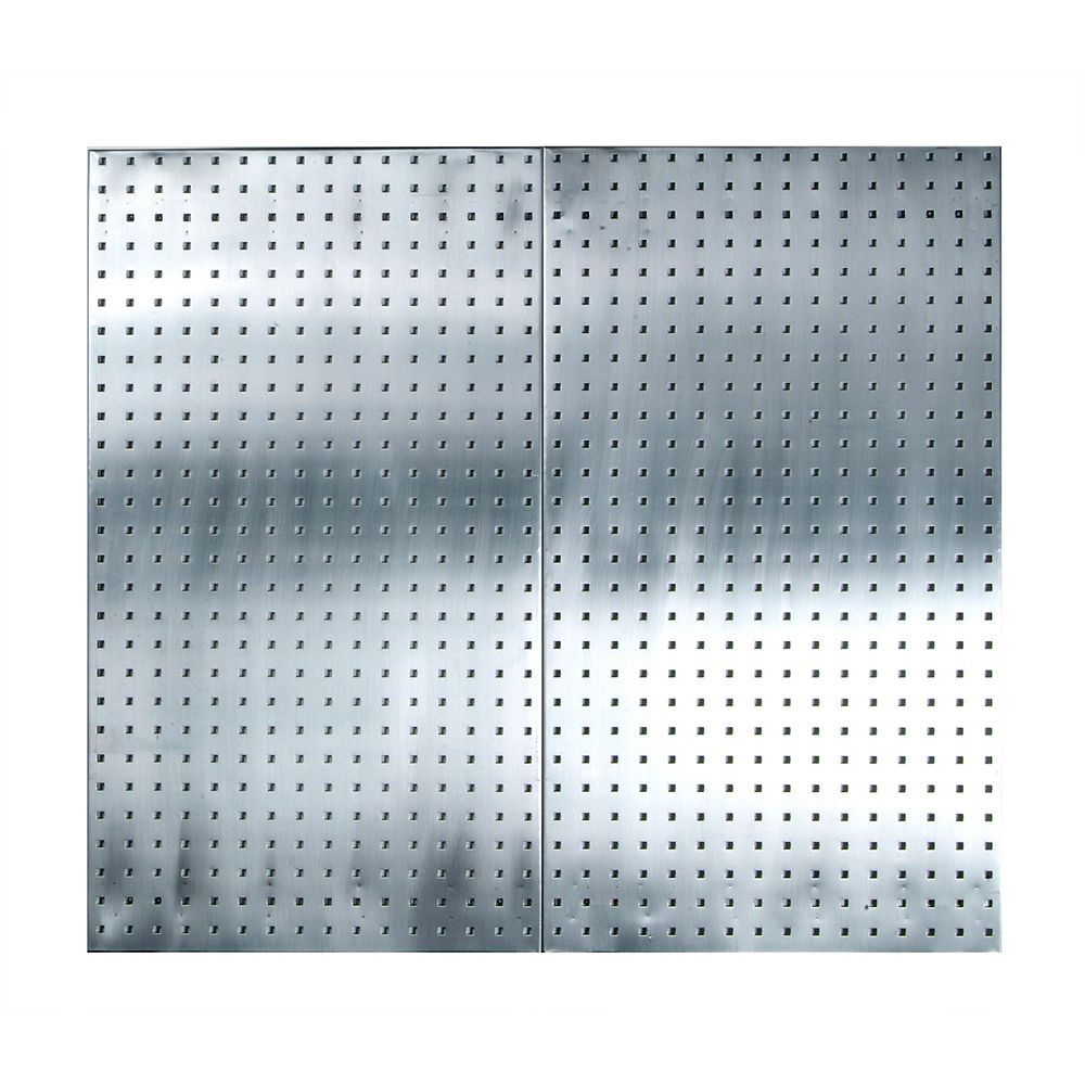 Triton (2) 24 In. W x 42-1/2 In. H x 9/16 In. D Stainless Steel  Square Hole Pegboards
