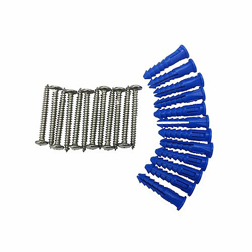 12 Steel Screws & 12 Plastic Wall Anchors for Mounting Stainless Steel Pegboard System