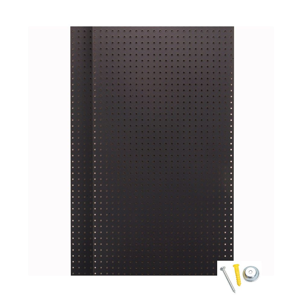 Triton (2) Wall Ready Black Pegboards 24 In. W x 42 In. H x 1/4 In. D HDF Pegboards with Mounting Hardware