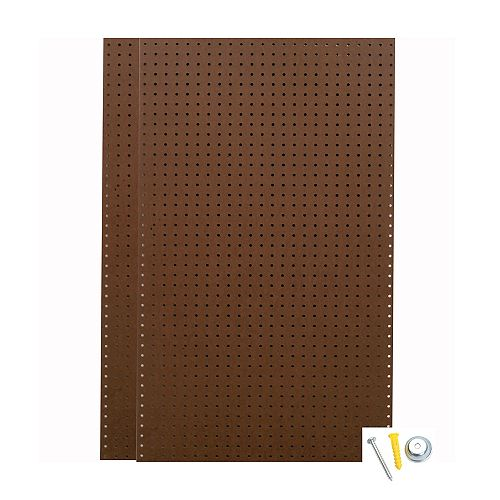 (2) Wall Ready Brown 24 In. W x 42 In. H x 1/4 In. D Tempered Pegboards with Mounting Hardware