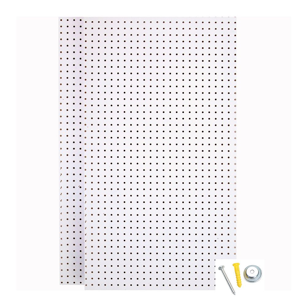 Triton (2) Wall Ready White Pegboards 24 In. W x 42 In. H x 1/4 In. D  HDF Pegboards with Mounting Hardware