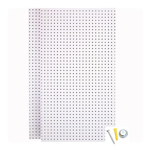 (2) Wall Ready White Pegboards 24 In. W x 42 In. H x 1/4 In. D  HDF Pegboards with Mounting Hardware