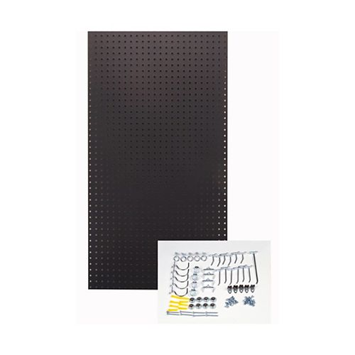 Black Pegboard Kit 24 In. W x 42 In. H x 1/4 In. D  HDF Pegboards with 36 pc. Hook Assortment