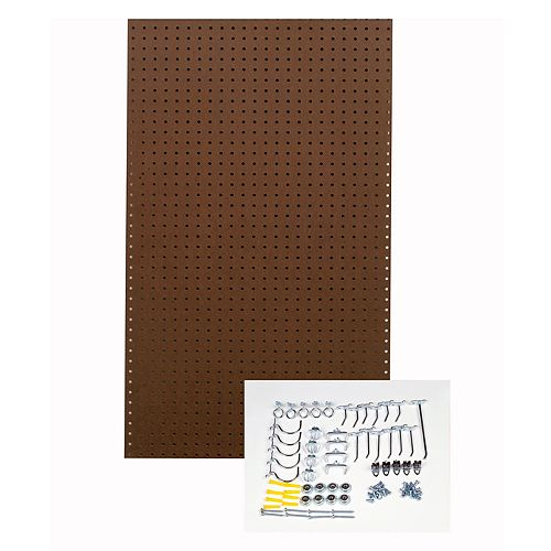 Brown Pegboard Kit 24 In. W x 42 In. H x 1/4 In. D Tempered Pegboards with 36 pc. Hook Assort.