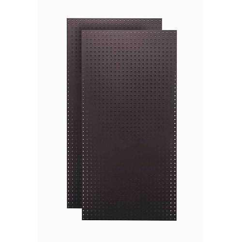 (2) 24 In. W x 48 In. H x 1/4 In. D  Jet Black Tempered Round Hole Pegboards