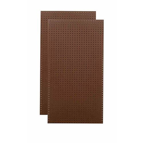 (2) 24 In. W x 48 In. H x 1/4 In. D Brown Commercial Grade Tempered Round Hole Pegboards